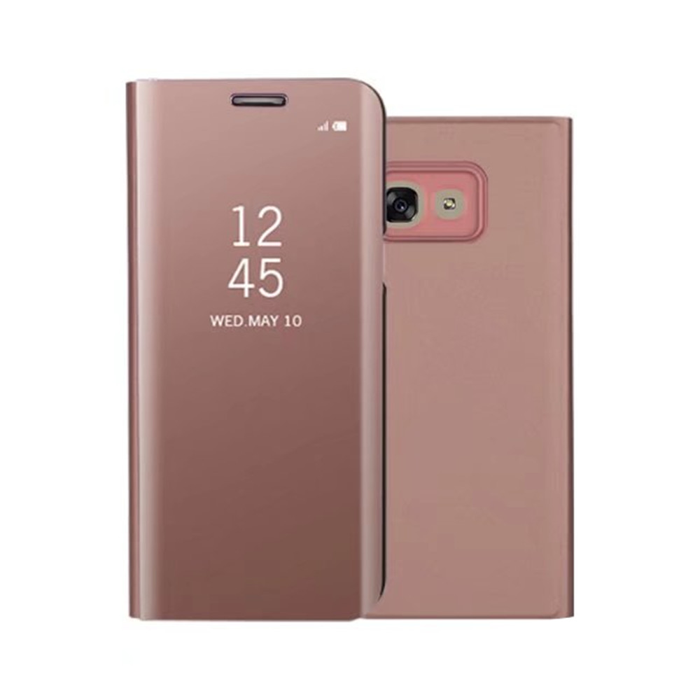 PU Leather Smart Clear View Flip Cover with Kickstand for Samsung Galaxy A5 2017- Rose