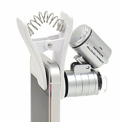 NIEGIENNA-60X Clip-On Type Mini Microscope Magnifier Micro Lens Illuminated Jeweler LED UV Lens Loupe with Clamp for Universal Smartphones iPhone Samsung HTC BlackBerry Nokia Sony and Tablets