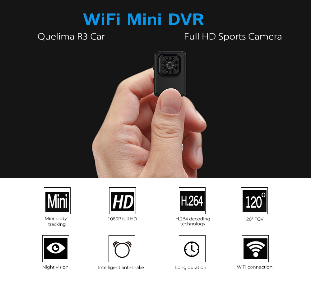 Night Vision with 8 LED Lights / 120 Degree FOV / Loop-cycle Recording / Supports 32GB TF Card- Black
