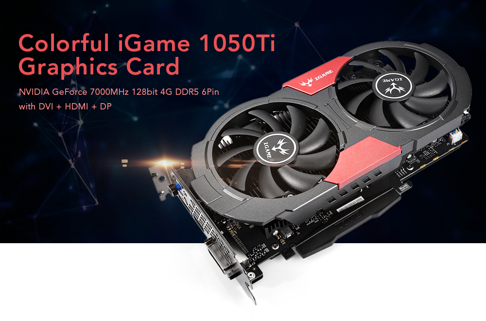 Colorful iGame 1050Ti Graphics Card 128bit DDR5 6Pin Computer Hardware with Cooler Fan