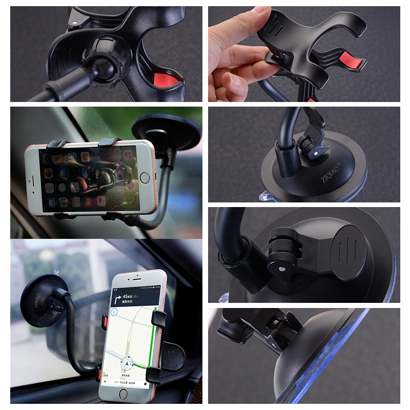 ZIQIAO Universal 360 Degree Car Windshield Mount Phone Holder Stand Support for iPhone 7 / 7 Plus / 6 / 6 Plus- Black