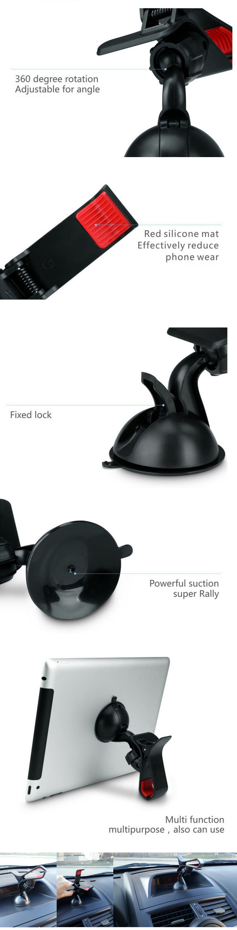 ZIQIAO 360 Degrees Rotation Universal Car Suction Mount Cell Phone / GPS Holder  -  BLACK- Black