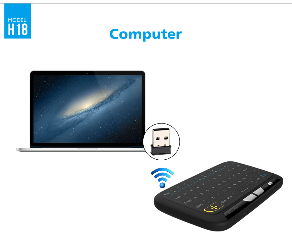 H18 Touch Screen Air Mouse / Wireless Keyboard Remote Control 400DPI- Black