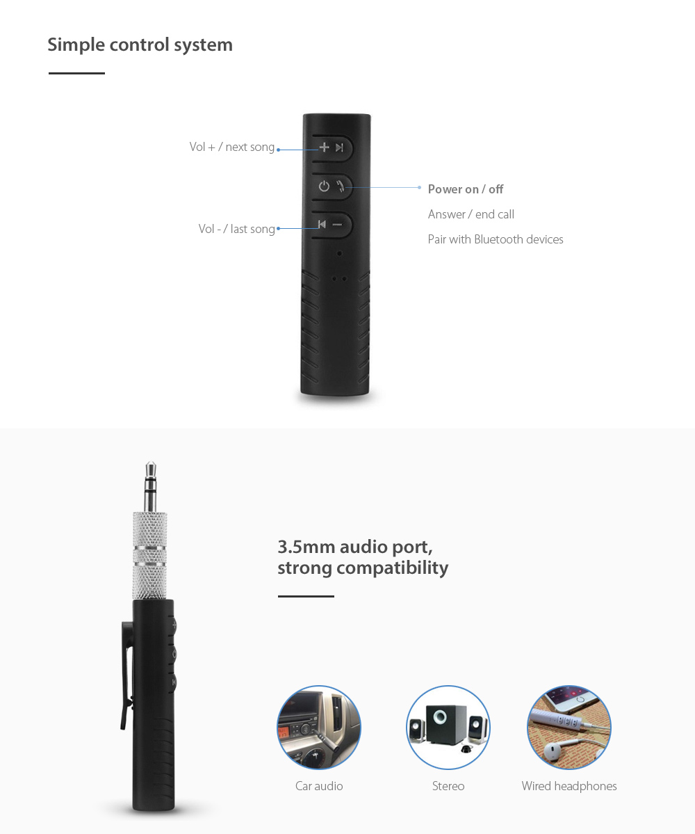 KELIMA Portable Bluetooth Music Audio Receiver Adapter
