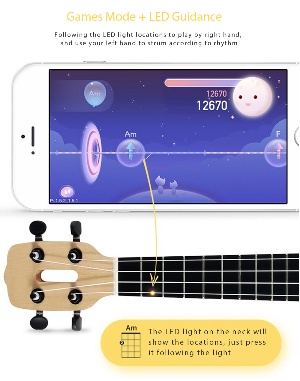 Xiaomi Populele APP LED Bluetooth USB Smart Ukulele - Gift for Beginners 1pc
