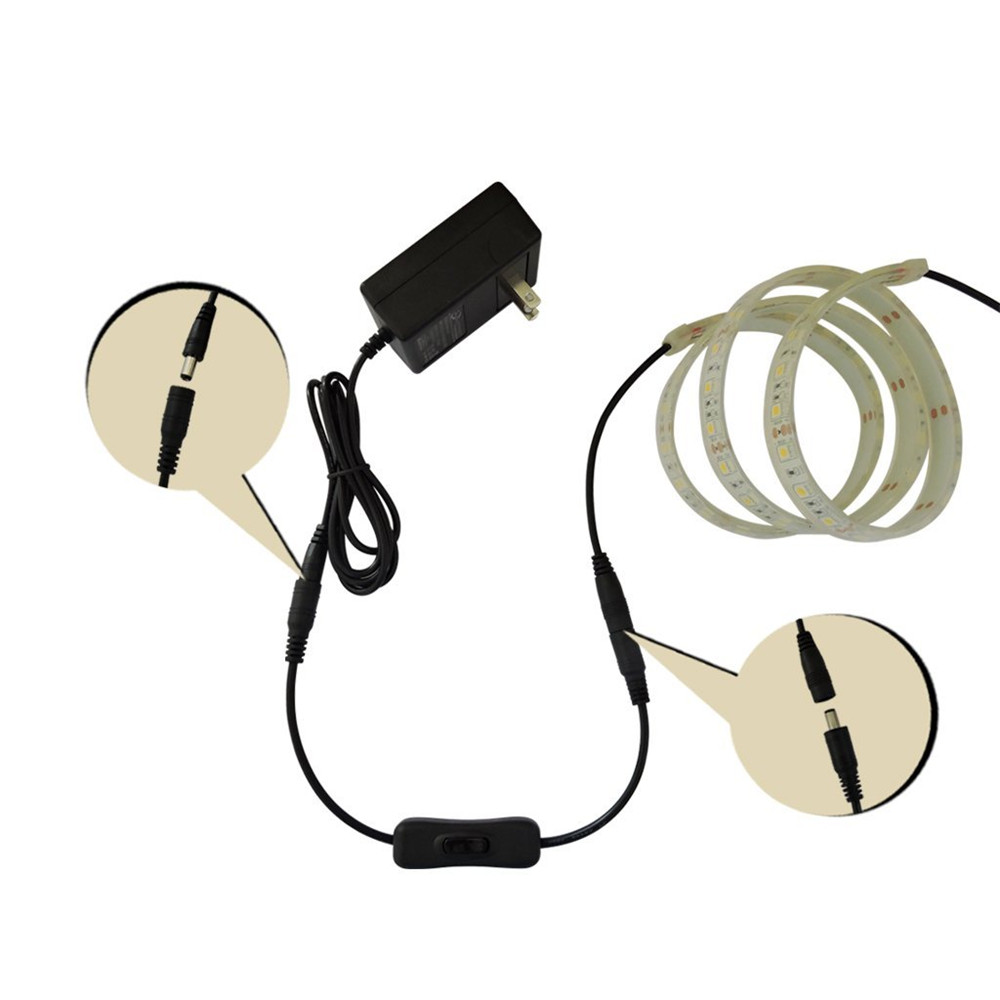 LED Strip Light Switch ON//OFF Cable w 5.5x2.1mm DC Male to Female Adapter 10Pcs