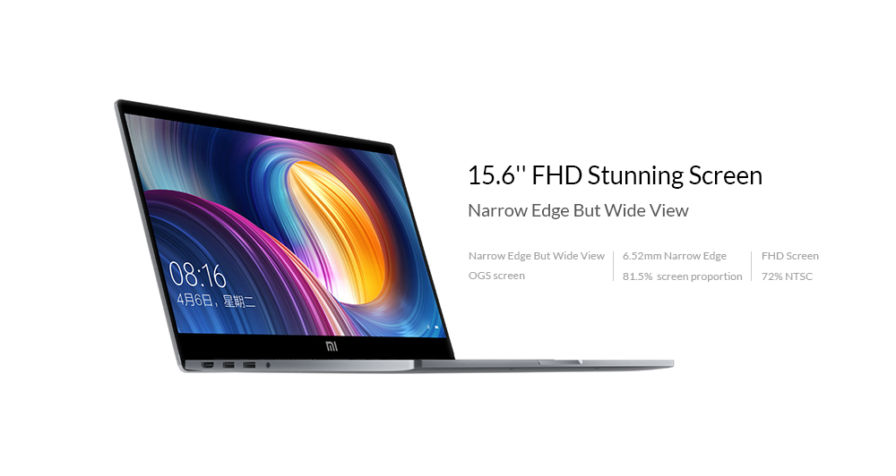 Xiaomi Mi Notebook Pro 15.6 inch Windows 10 Chinese Version Intel Core i7-8550U Quad Core 1.8GHz 16GB RAM 256GB SSD Fingerprint Recognition Dual WiFi