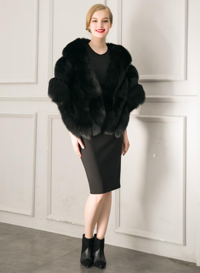 Faux Fur Coat Women Black Wrap Mentel Winter
