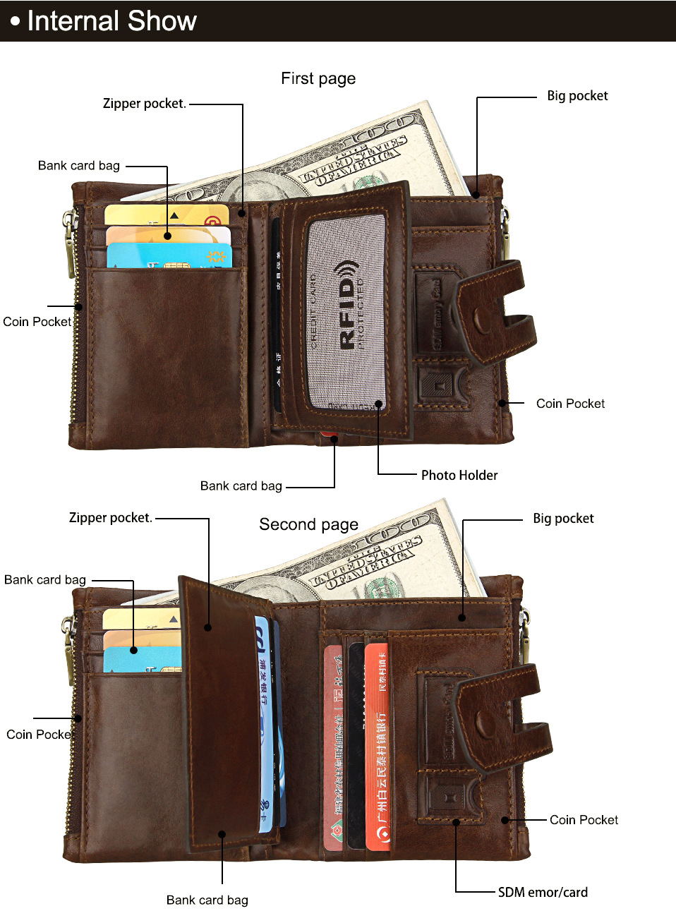 Short Genuine Leather Cowhide Men Wallet - $34.63 Free Shipping ...