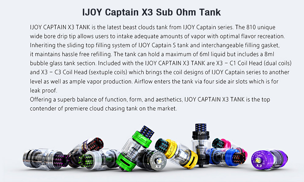 IJOY Captain X3 Sub Ohm Tank with 0.4 ohm / 6ml / 8ml for E Cigarette
