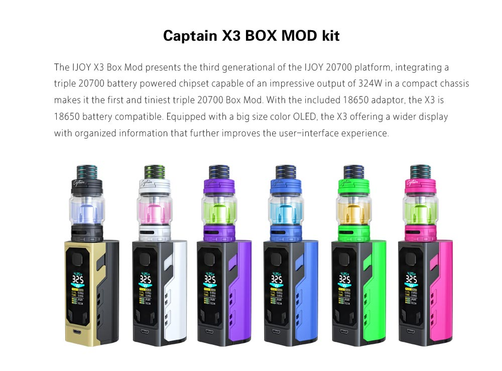IJOY X3 324W Kit with 200 - 600F / 0.05 - 3 ohm / Captain X3 Subohm Tank for E Cigarette