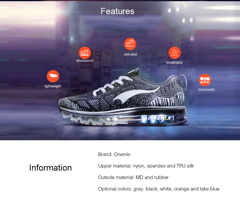 Onemix Knitting Lightweight Cushion Running Shoes for Men