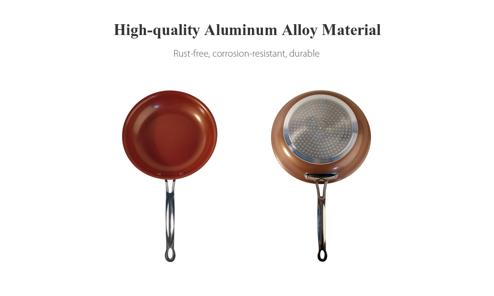 HESSION Non-stick Coppery Aluminum Alloy Frying Pan Skillet Saucepan with Ceramic Coating 20cm Handle - Copper Color