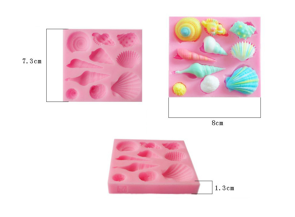 Lovely Sea Shell Cake Candy Chocolate Mold Silicone Bakery Tool - Pink