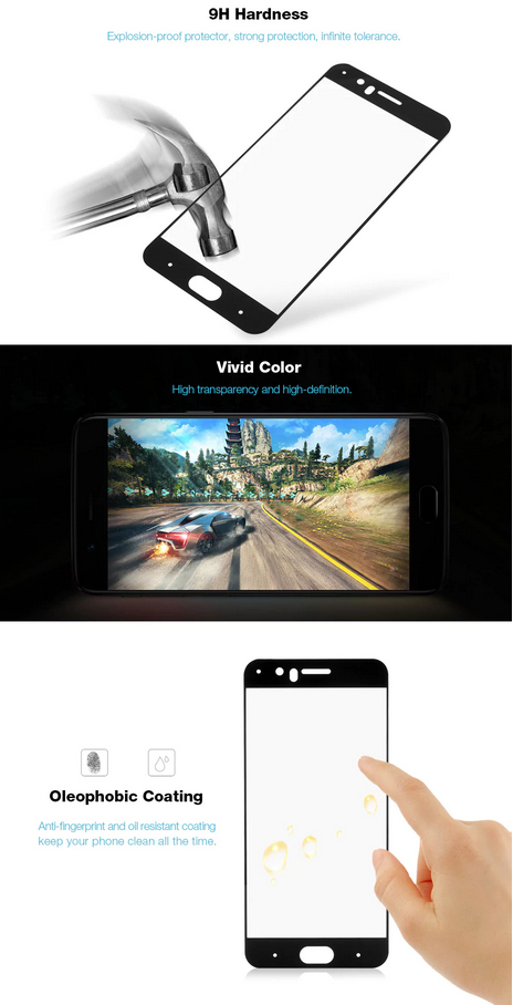 2.5D 9H Hardness Tempered Glass Full Cover Screen Film Protector for OnePlus 5- Black