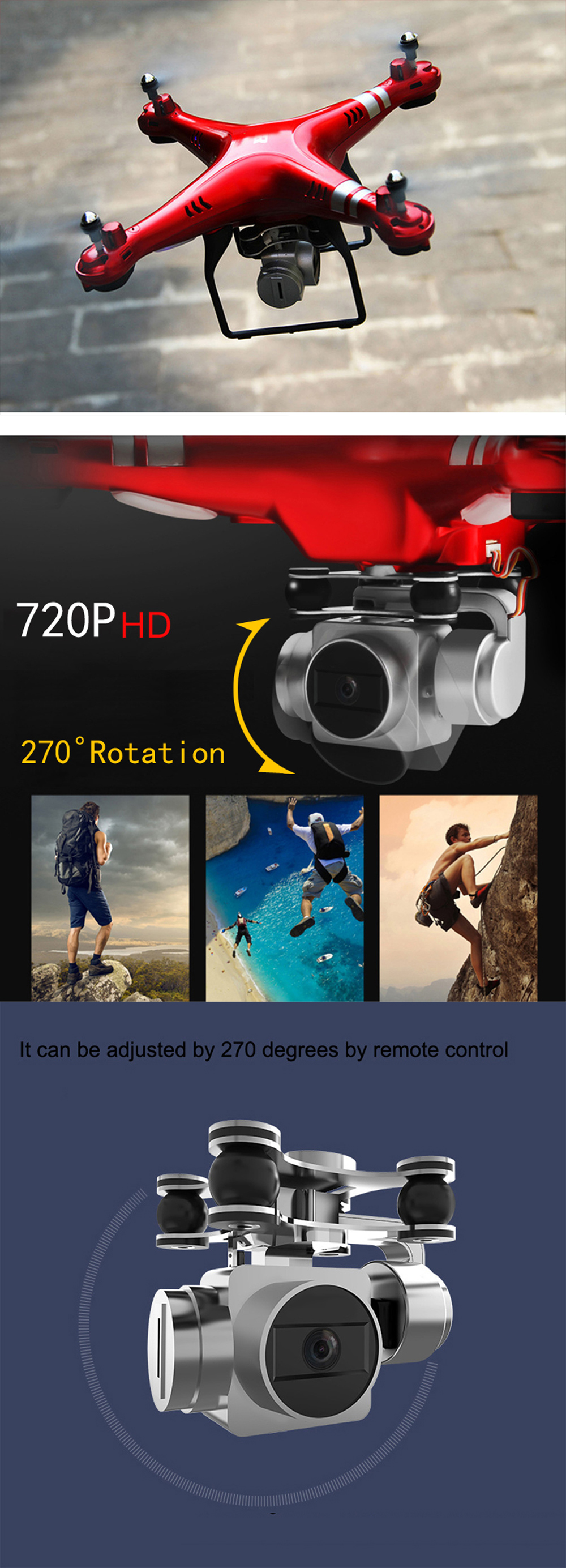 SH5HD RC Drone with 720P Camera Height One Key Auto-return