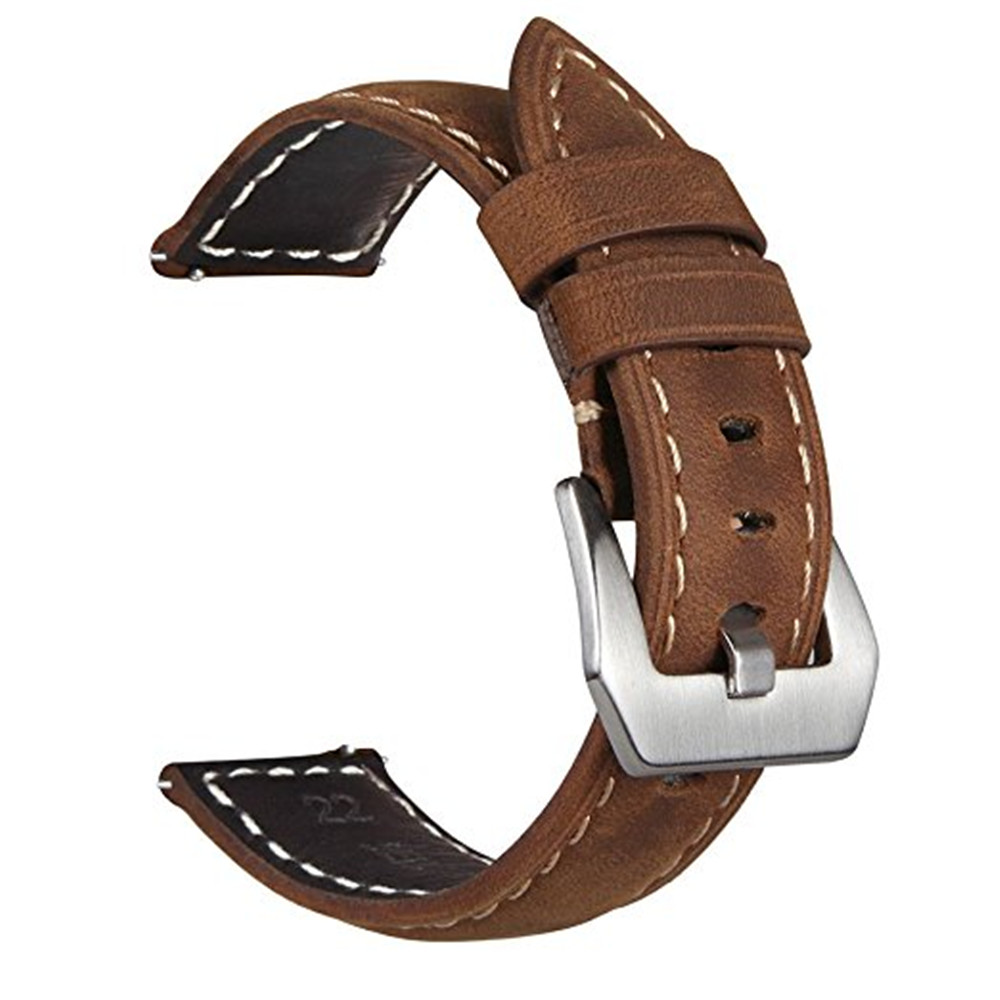 5dd86dcaa81 Frontier Classic Watch Band 22mm Genuine Leather Strap Soft Replacement  Wristband Bracelet with Stainless Steel Buckle