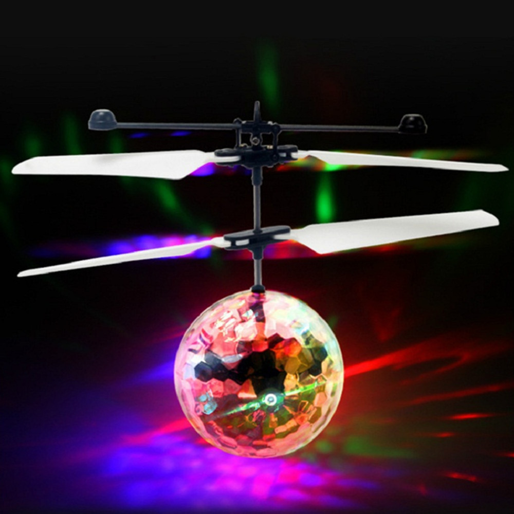 induction colorful lamp flash flying ball helicopter toy for kids