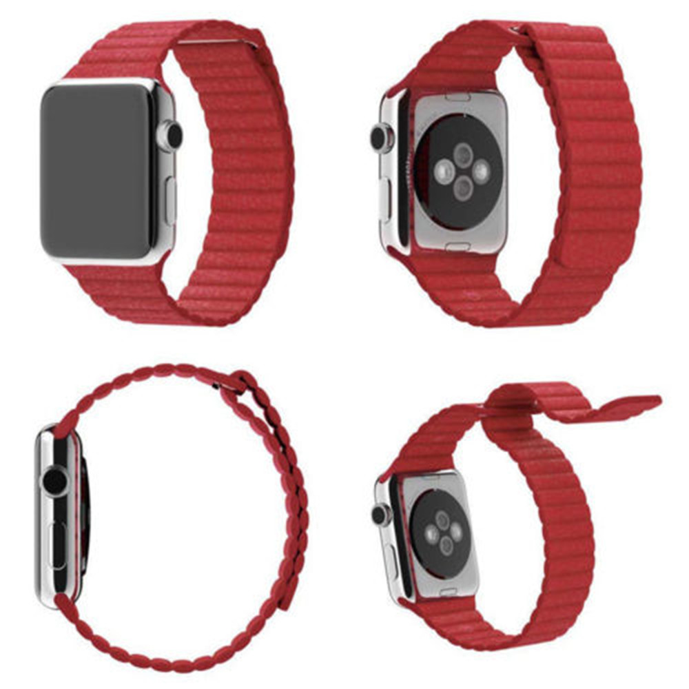 38MM Genuine Leather Magnetic Loop Bracelet Strap Band for iWatch Series 3 2 1