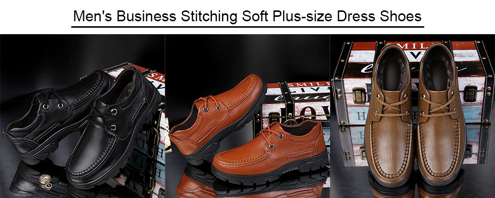 Business Stitching Soft Plus-size Dress Shoes for Men