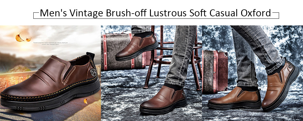 Vintage Brush-off Lustrous Soft Casual Oxford Shoes for Men