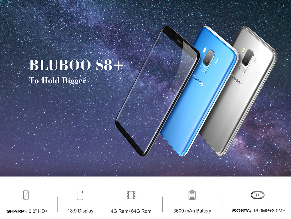 Bluboo S8+ ( Plus ) 4G Phablet 6.0 inch Android 7.0 MTK6750T Octa Core 1.5GHz 4GB RAM 64GB ROM Full Screen Dual Rear Cameras Touch Sensor