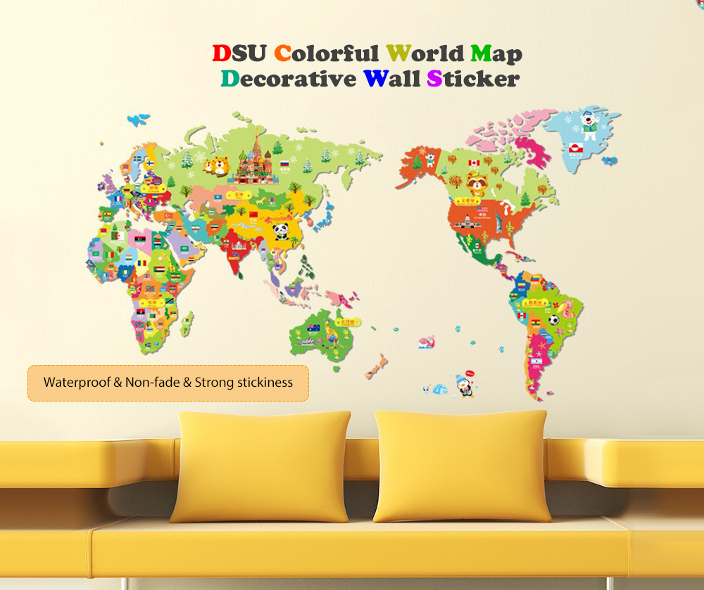 Colorful World Map Wall Sticker Decal Vinyl Art Kids Room Office ...