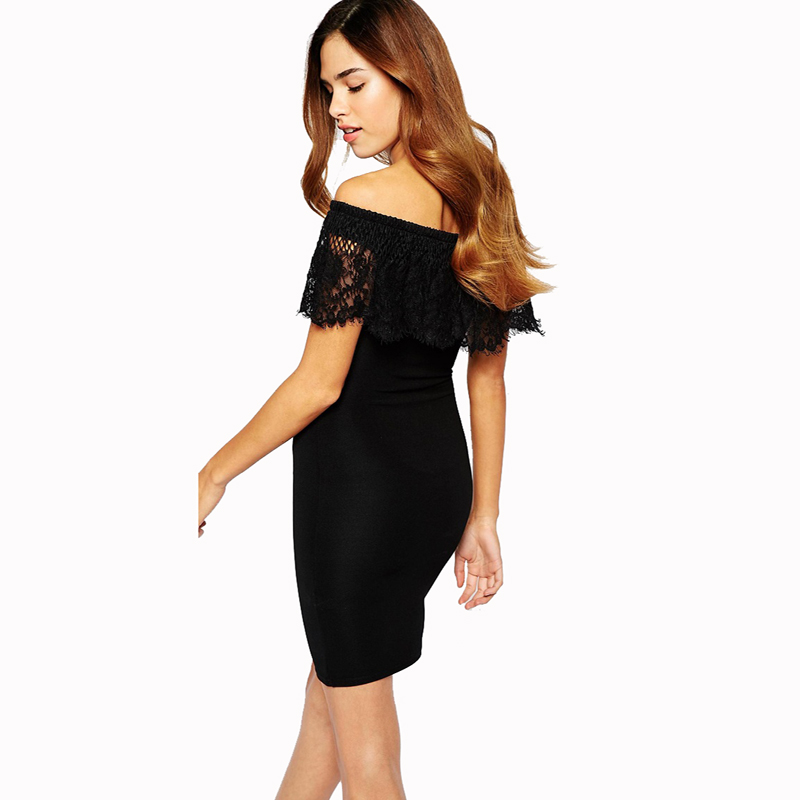 New  Style Fashion Off Shoulder Slash Neck Hot Sale Pencil Lace Mini Dress