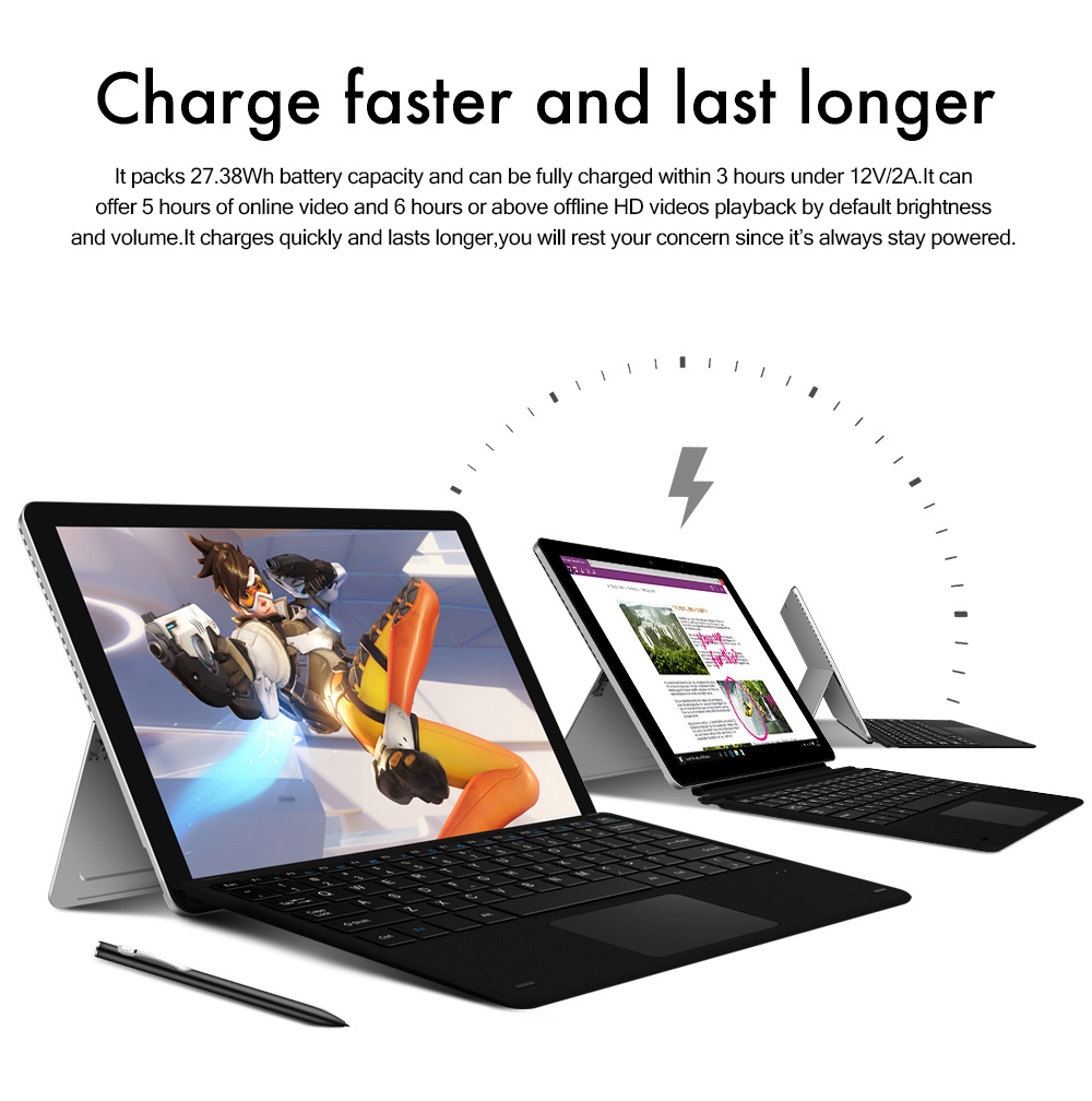 Chuwi SurBook Mini 2 en 1 Tablet PC 10,8 pouces Windows 10 Accueil Version anglaise Intel Celeron N3450 Quad Core 1,1 GHz 4 Go RAM 64 Go ROM Double WiFi caméras