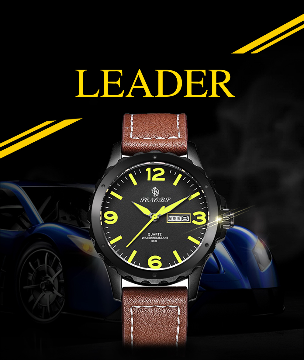 Senors SN003 Fashion Business Date Quartz Watch with Leather Strap