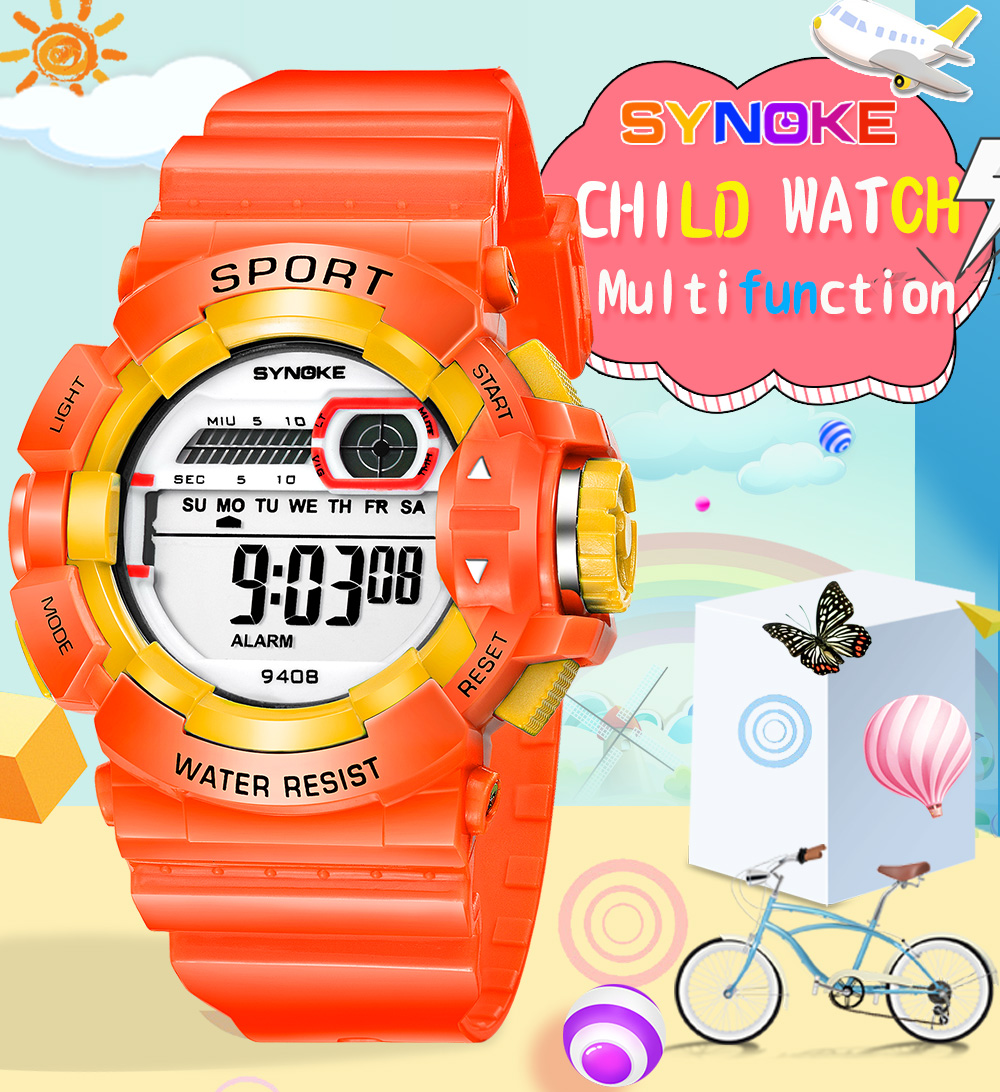 Synoke 9408 Children Waterproof Student Luminous Multi-function Watch