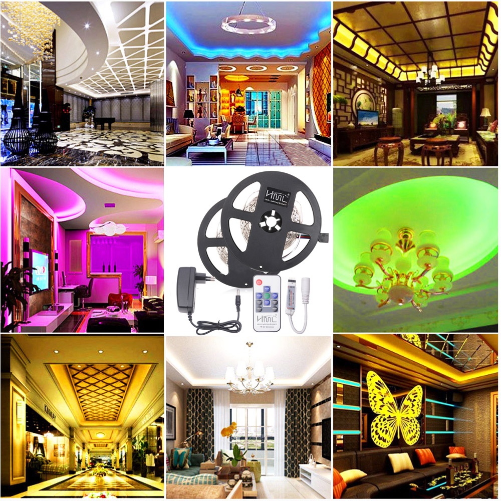 HML 2pcs 5M 24W RGB 2835 SMD 300 LED Strip Light with RF10Keys Remote Control+ DC Adapter(EU Plug)