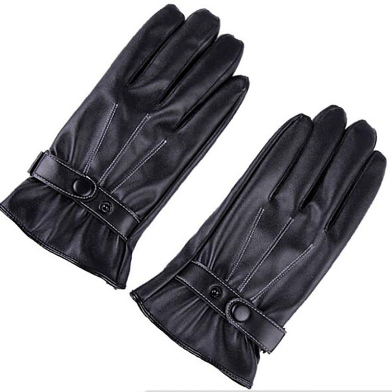 Winter Male PU Leather Short  Thick  Gloves Man Car Driving Mittens