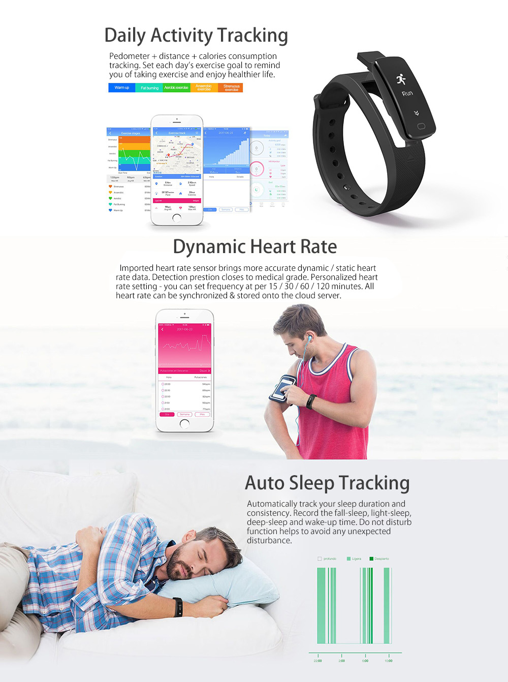 SMA B2 Heart Rate Blood Pressure Monitor Smart Wristband Bidirectional Pedometer Sedentary Remind Remote Camera Watch - Black