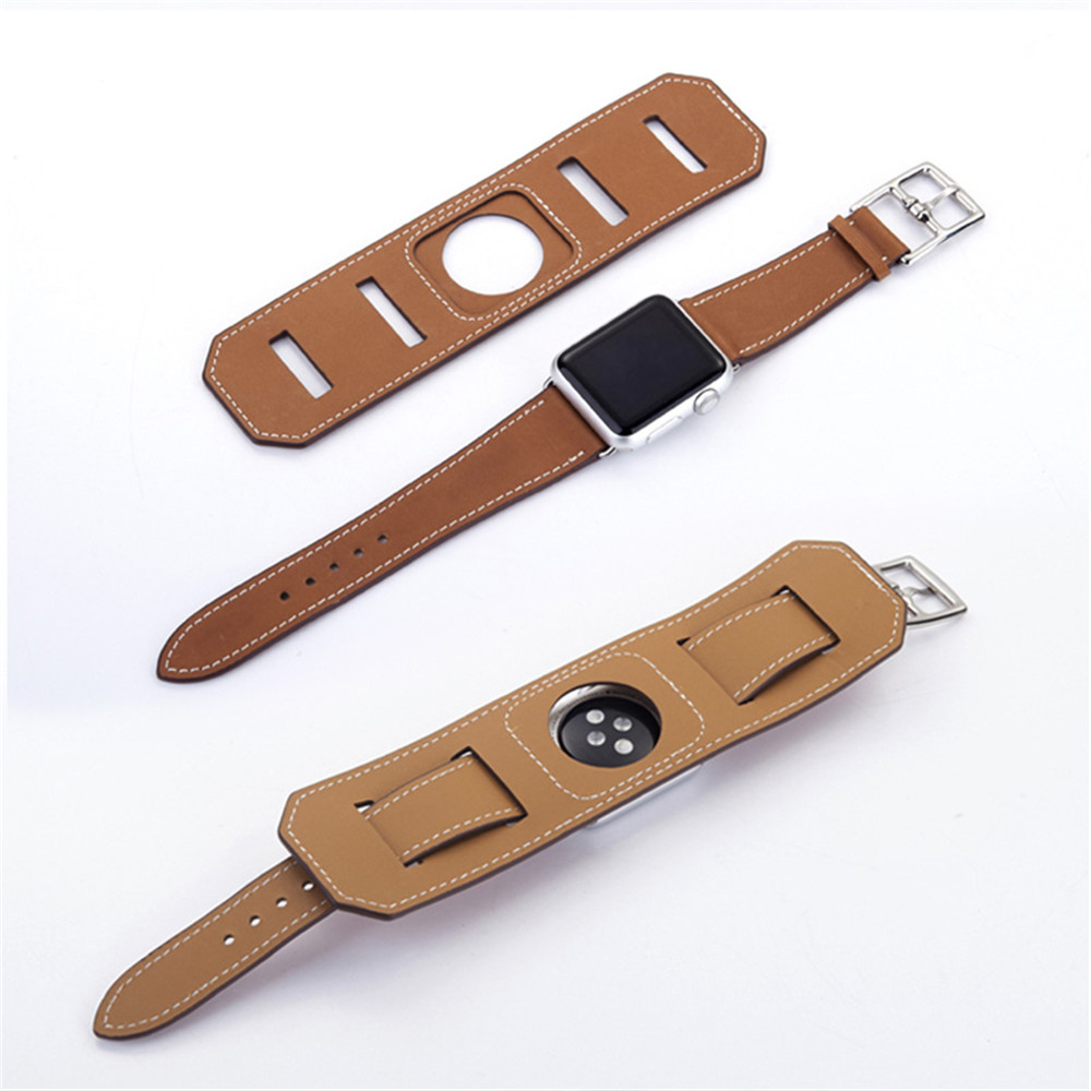 42mm Genuine Leather WatchBand Cuff Bracelet Leather Band Straps for iWatch Series 3  2  1