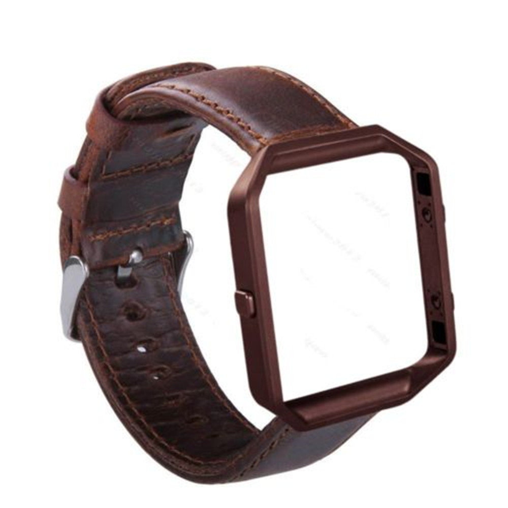 Genuine Leather + Metal Frame Belt Link Bracelet Strap Wrist Band for Fitbit Blaze 23mm