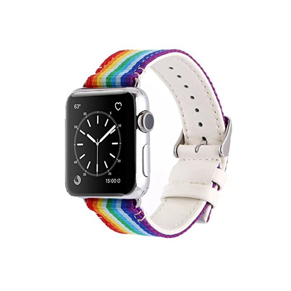 42MM Casual Canvas with Genuine Leather Replacement Wristband  Stripe Color Splicing Style for iWatch Series 3  2  1