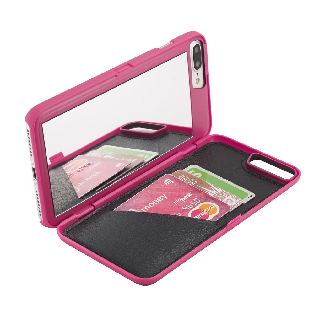 Case Back Mirror Wallet Protective Cover With Stand Feature And Card