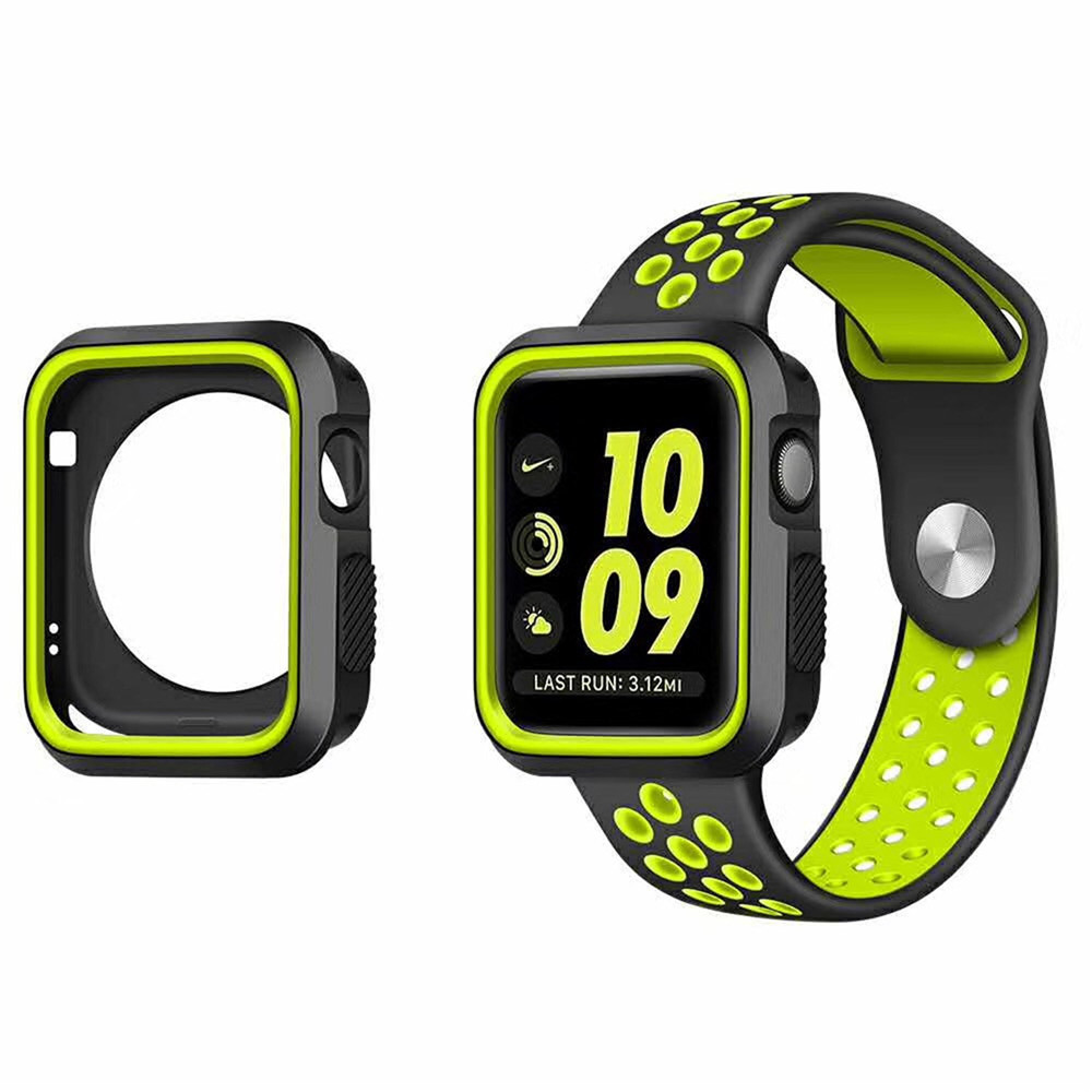 Sports Silicone Protective Case Cover Strap For Apple Watch Series 1 2 3 42mm