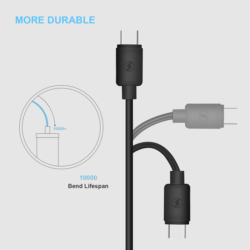 Kiirie USB Type-C Cable 2 Pack (  3.3ft 6.6ft ) Type A To C Data Charging