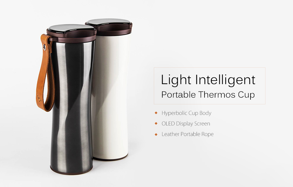 Simple Stainless Steel Intelligent Thermal Vacuum Water Bottle from xiaomi youpin- Gray