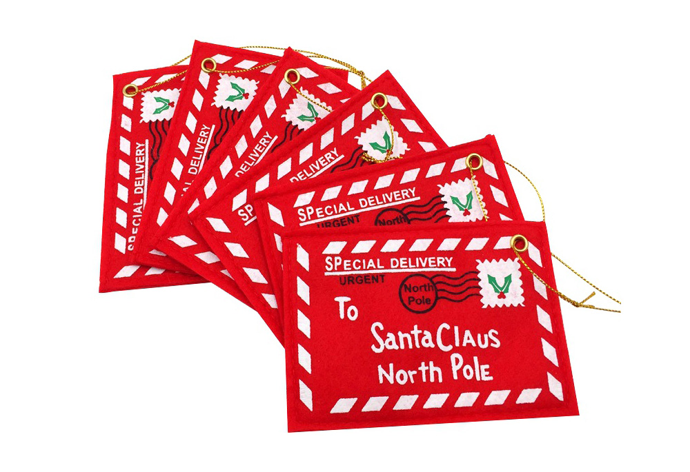 10pcs Christmas Letter to Santa Envelope Mail Card Tree Hanging Ornament Decor Gift