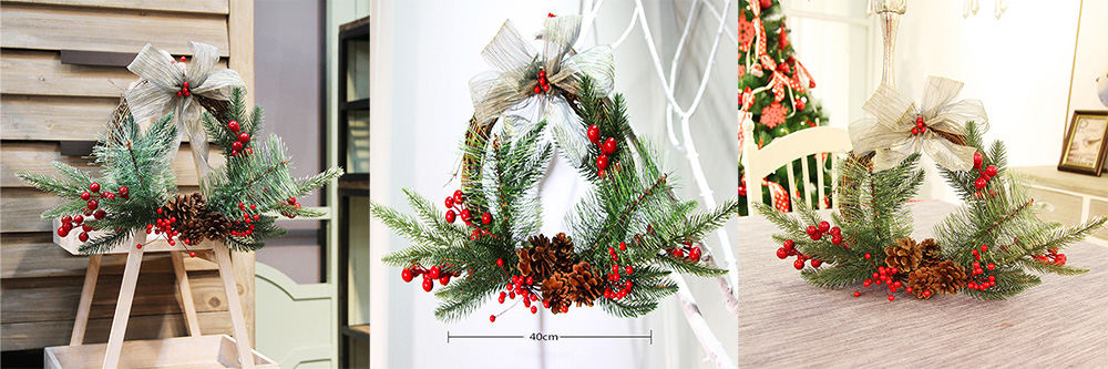 Creative Christmas Wreath Decoration for Reception Restaurant Hotel