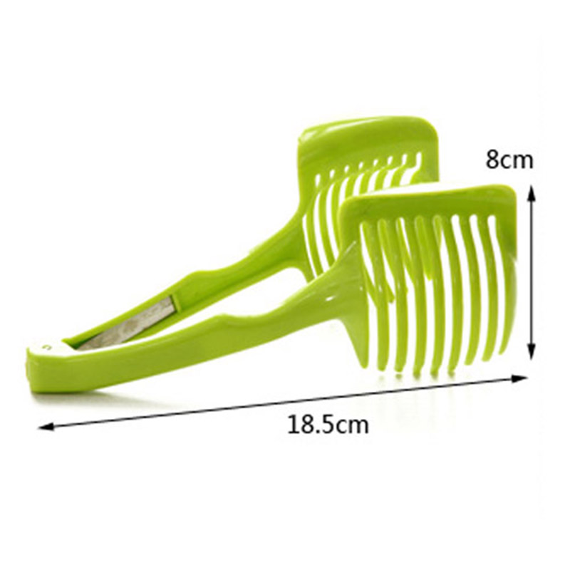 Handheld Fruit Slicer Tomato Cutter Lemon Potato Food Egg Peel Onion Holder- Green