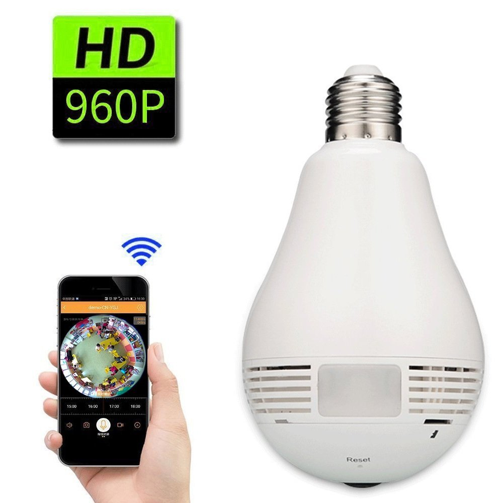 IPC - F62 360 Degree LED Bulb White Light 960P WiFi Wireless P2P Cloud Security Network Fisheye Panoramic IP Camera