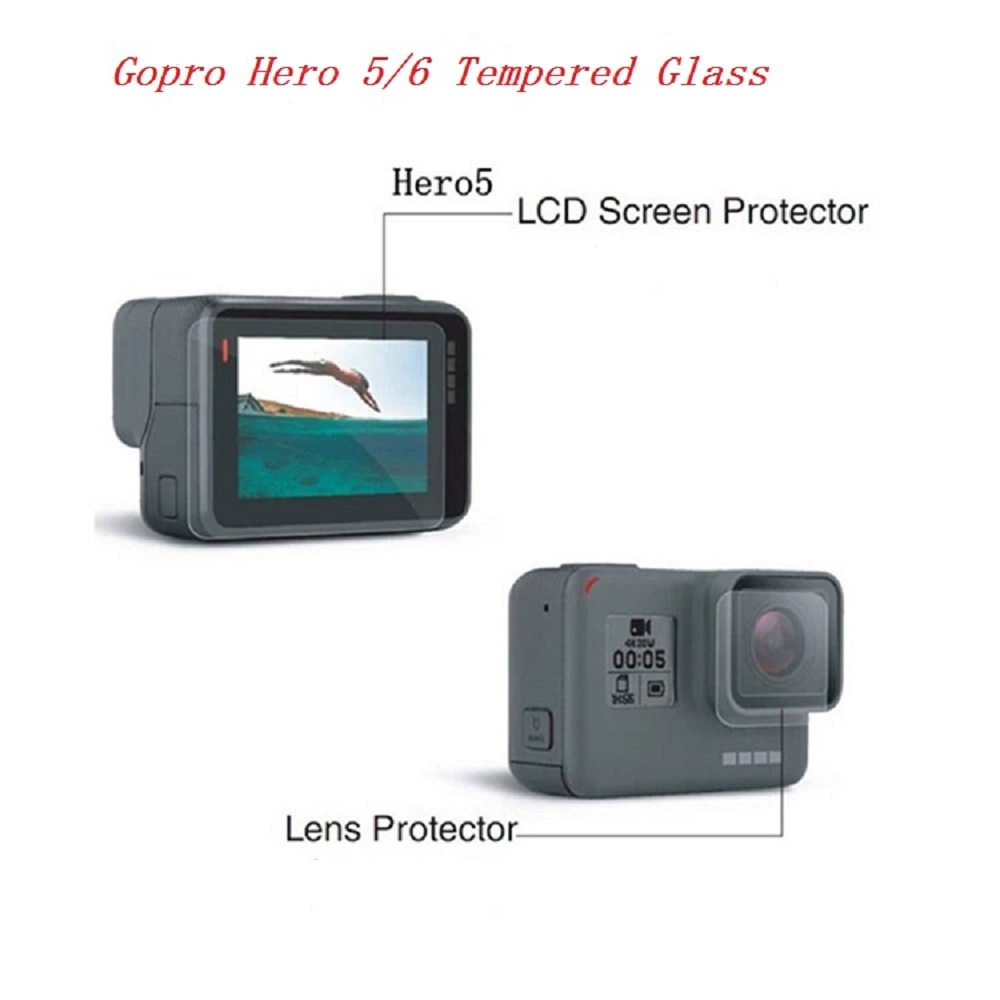 Tempered Glass Lens Film Camera Screen Protector for GoPro Hero 5 / GoPro Hero 6 - Transparent