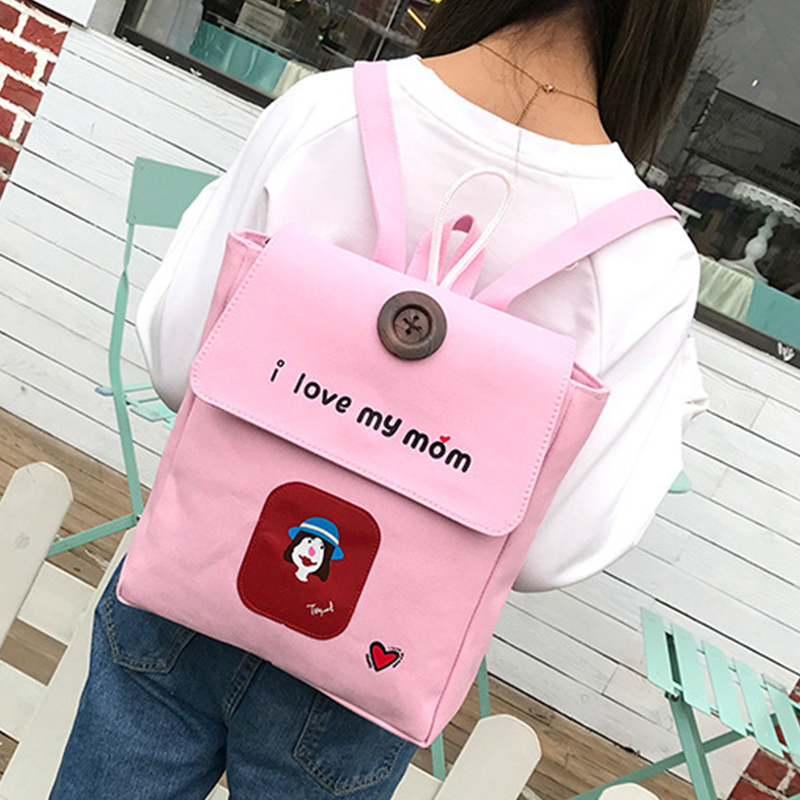 Women's Backpack Preppy Style Personalized Character Letter Casual Bag