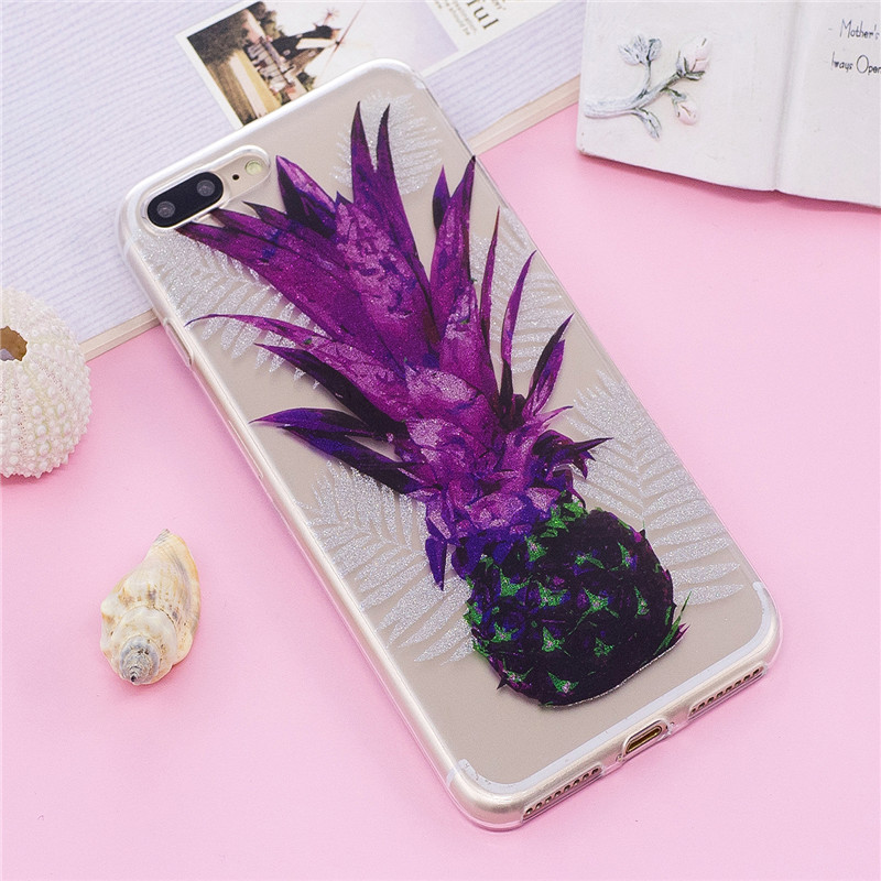 Purple leaf pineapple Pattern Soft TPU Anti-scratch Back Cover Case for iPhone 8 Plus