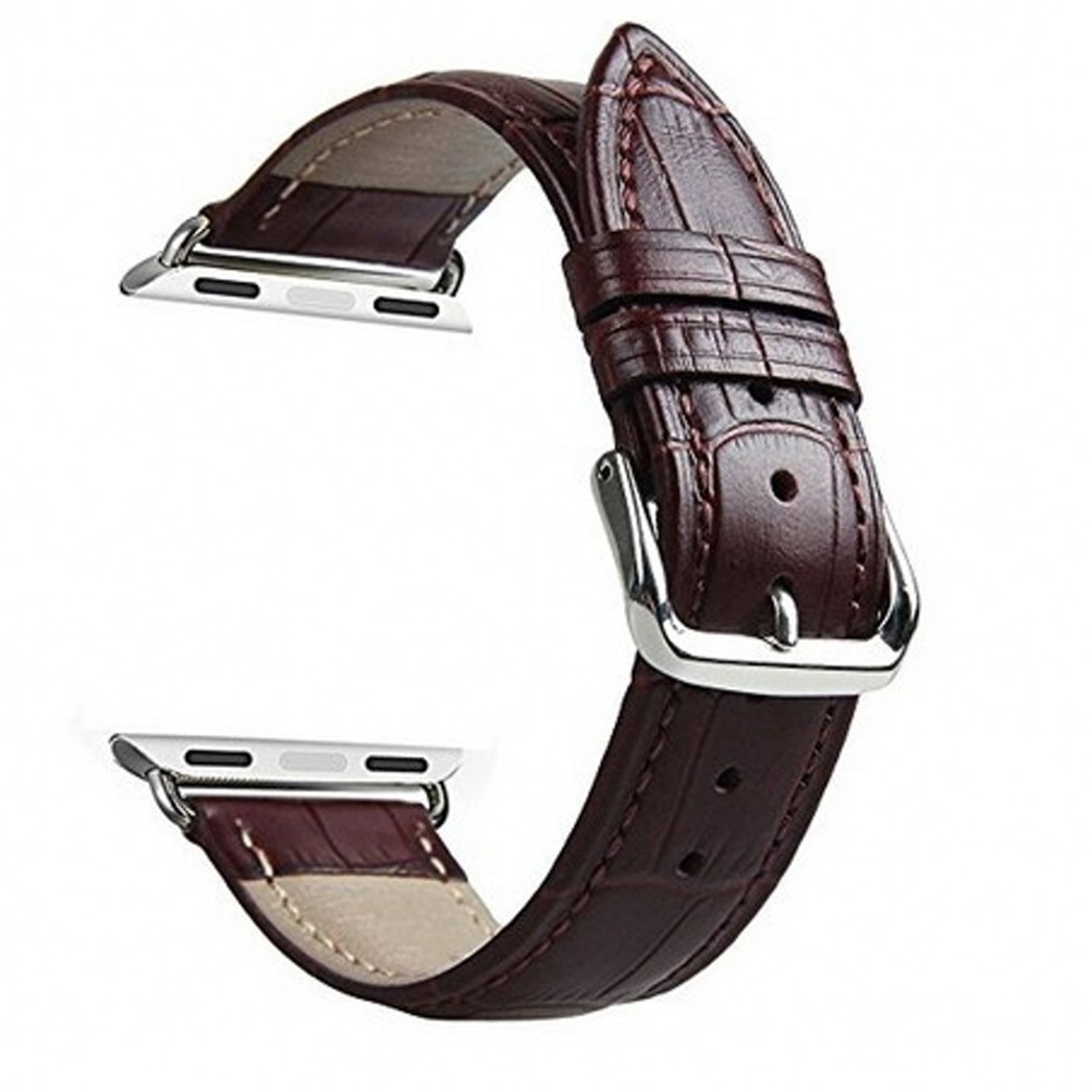 42mm Genuine Leather Strap Crocodile Pattern with Quick Release Adapter for iWatch Series 3 / 2 / 1