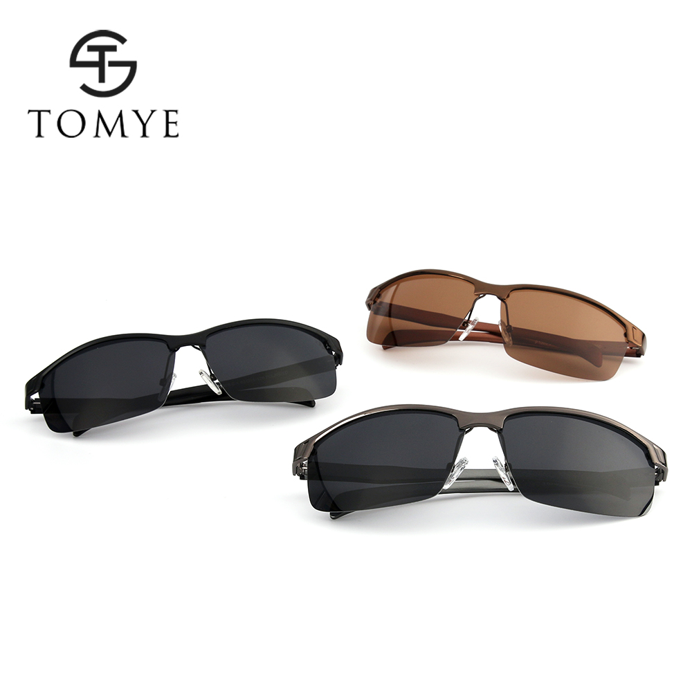 TOMYE P1028 Metal Square Frame Sports Men's Polarized Sunglasses